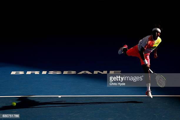 Elias Ymer of Sweden serves in his first round match against Jordan Thompson of Australia during day one of the 2017 Brisbane International at Pat...
