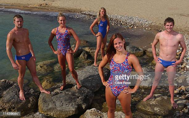Eliazabeth Simmonds Joanne Jackson Francesca Halsall Liam Tancock and David Davies of the British Gas Swimming Team pose for a group portrait during...