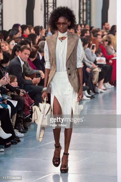 Elibeidy Dani walks the runway during the Chloe Womenswear Spring/Summer 2020 show as part of Paris Fashion Week on September 26, 2019 in Paris,...