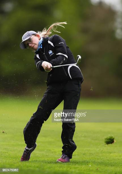 Elidh Henderson plays her second shot on the 17th hole during the second round of the Girls' U16 Open Championship at Fulford Golf Club on April 28...