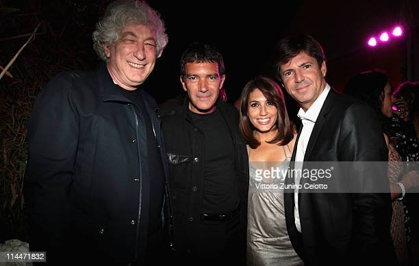 Elie Chouraqui actor Antonio Banderas Arianna and Lancia Fiat CEO Olivier Francois attend the 'This Must Be The Place' party hosted by Lancia during...