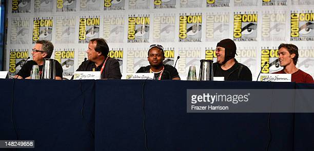 Elie Dekel voice actor Tony Oliver actors Walter Young Paul Schrier and Alex Heartman attend Power Rangers 20 Years and Beyond during ComicCon...