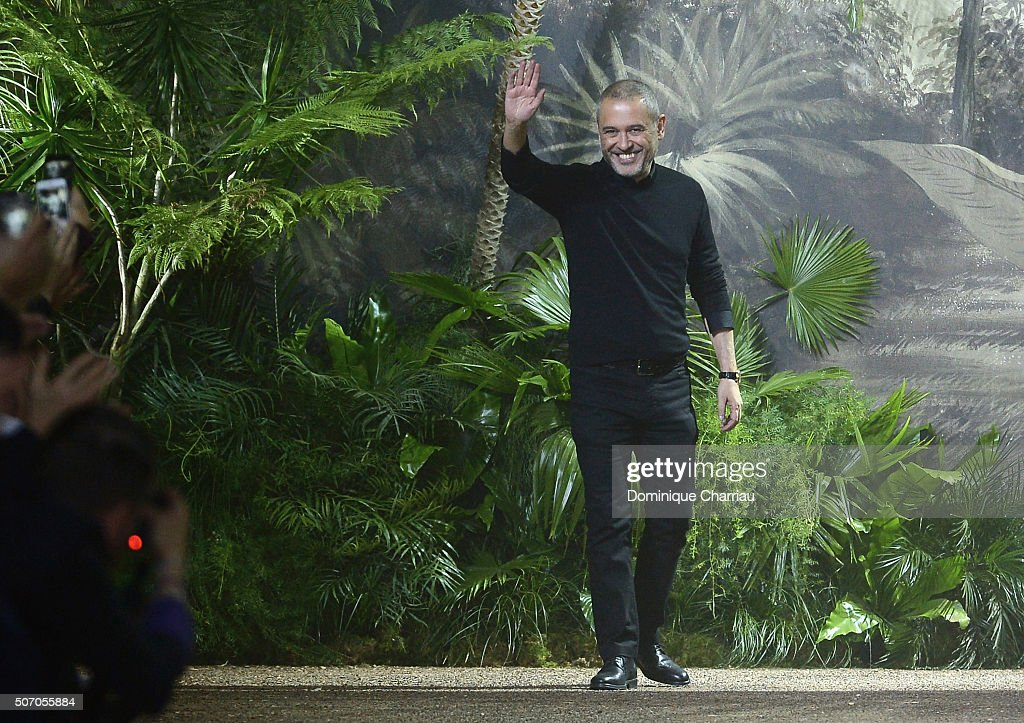 Elie Saab aknowledges the applause after his show as part of Paris Fashion Week on January 27, 2016 in Paris, France.