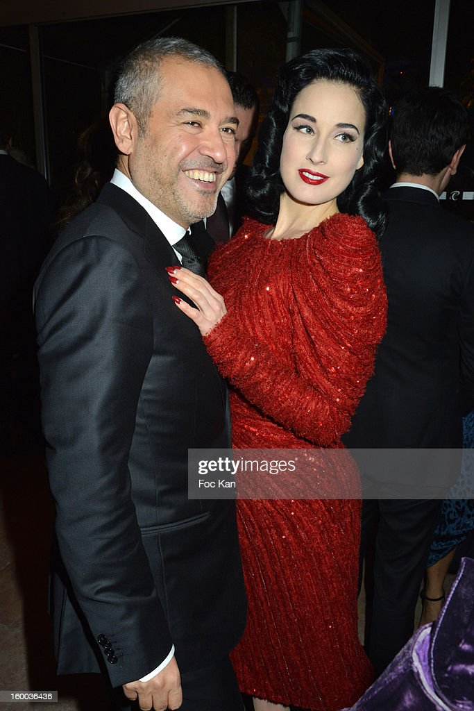 Elie Saab and Dita Von Teese attend the Sidaction Gala Dinner 2013 at Pavillon d'Armenonville on January 24, 2013 in Paris, France.
