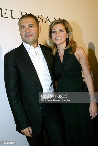 Elie Saab and Wife during 2004 Paris Fashion Week Elie Saab Haute Couture After Show Backstage at Palais Chaillot in Paris France