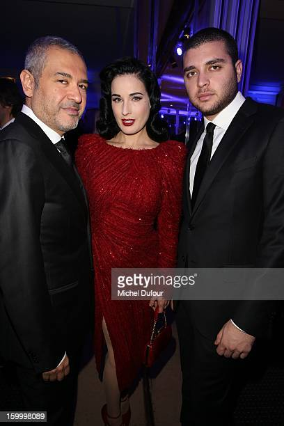 Elie Saab Dita von Teese and Elie Saab Jr attend the Sidaction Gala Dinner 2013 at Pavillon d'Armenonville on January 24 2013 in Paris France
