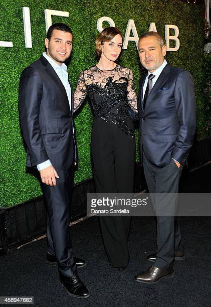 Elie Saab Jr actress Emily Blunt and designer Elie Saab attend a private Elie Saab dinner on November 13 2014 in Los Angeles California #ElieSaabLA