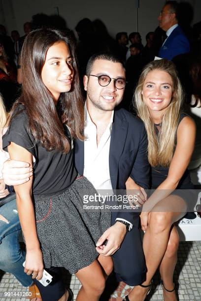 Elie Saab Jr with his wife and their daughter attend the Elie Saab Haute Couture Fall Winter 2018/2019 show as part of Paris Fashion Week on July 4...