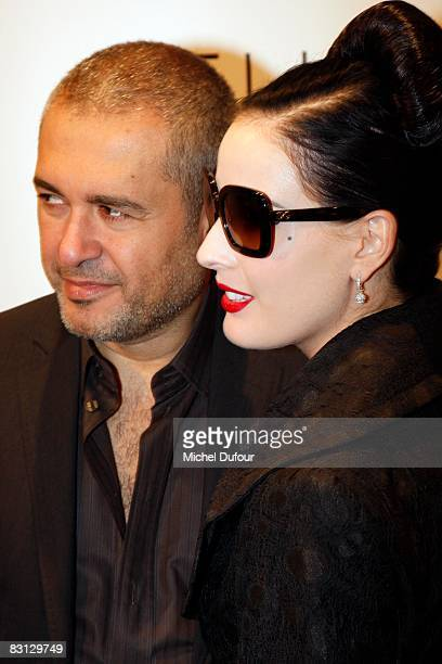 Elie Saab show and Dita von Teese attends the Elie Saab show during Paris Fashion Week at Le Carrousel du Louvre on October 4 2008 in Paris France