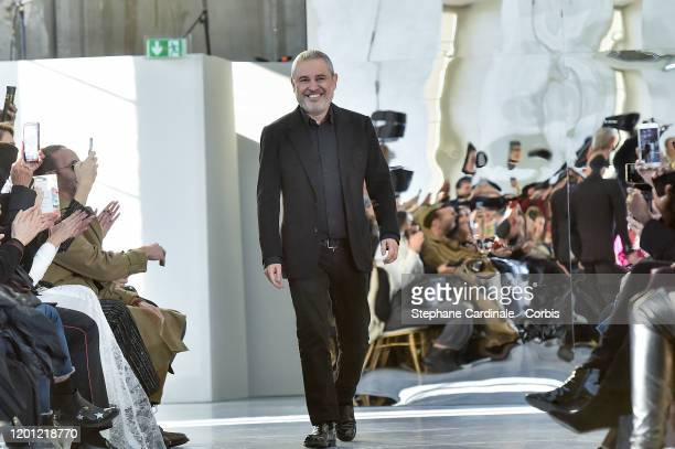 Elie Saab walks the runway during the Elie Saab Haute Couture Spring/Summer 2020 show as part of Paris Fashion Week on January 22, 2020 in Paris,...