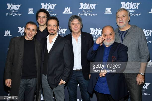 Elie Semoun Louis Clichy Alexandre Astier Lionnel Astier Guillaume Briat and Bernard Alane attend 'Asterix Le Secret de la Potion Magique' Paris...