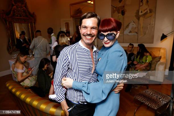 Elie Top and Betony Vernon attend the Schiaparelli Cocktail to celebrate Daniel Roseberry first Haute Couture Collection as part of Paris Fashion...
