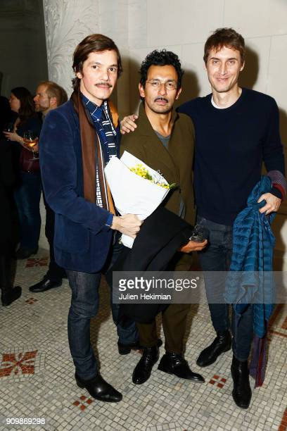 Elie Top Haider Ackermann and guest attend the 33rd Hyeres Festival Press Conference as part of Paris Fashion Week Haute Couture Spring Summer 2018...
