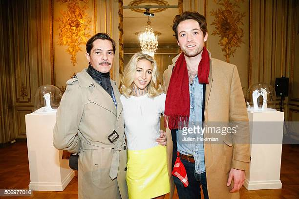 Elie Top Jewelry Designer Sabine Getty and Louis Marie de Castelbajac attend the 'Memphis' Fine jewelry collection launch as part of Paris Fashion...