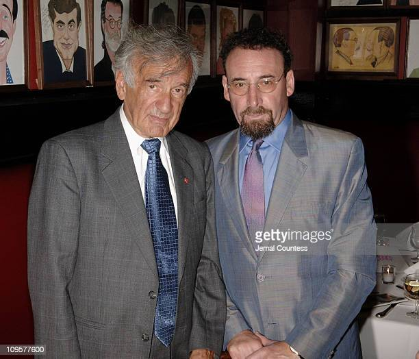 """Elie Wiesel and Sir Anthony Sher during """"Primo"""" Broadway Opening Night - After Party at Sardi's in New York City, New York, United States."""