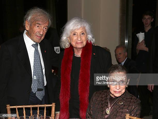 Elie Wiesel Marion Wiesel and Honorable Ruth Bader Ginsburg Associate Justice of Supreme Court of the United States attend Richard Tucker Music...