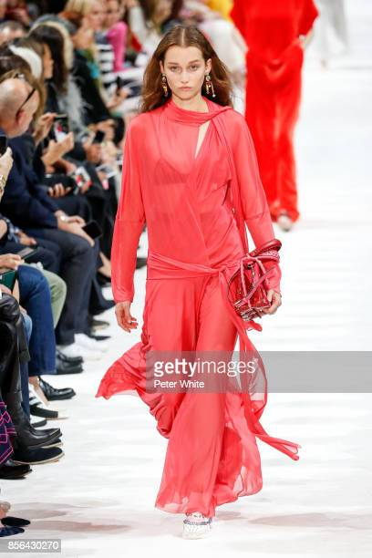 Elien Swalens walks the runway during the Valentino show as part of the Paris Fashion Week Womenswear Spring/Summer 2018 on October 1 2017 in Paris...