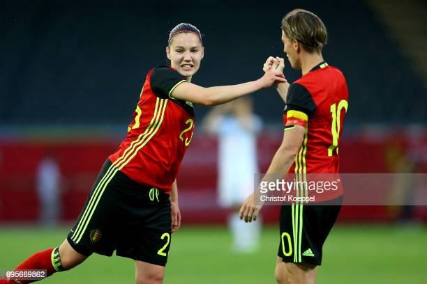 Elien van Wynendaele nd Aline Zeler of Belgium celebrate after the 11 draw of the Women's International Friendly match between Belgium and Japan at...