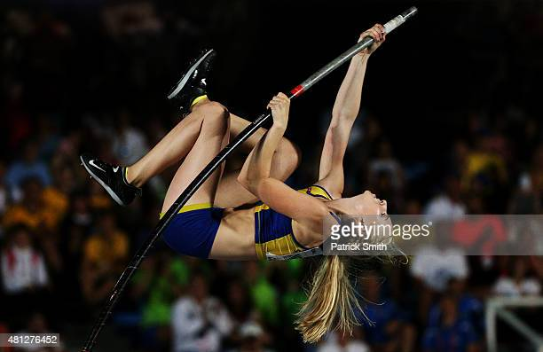 Elienor Werner of Sweden in action during the Girls Pole Vault Final on day four of the IAAF World Youth Championships Cali 2015 on July 18 2015 at...