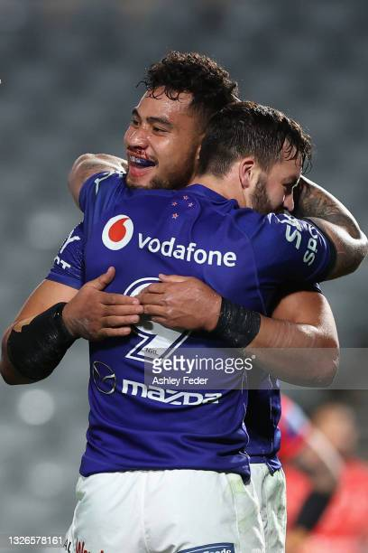 Eliesa Katoa of the Warriors celebrates his try during the round 16 NRL match between New Zealand Warriors and the St George Illawarra Dragons at...