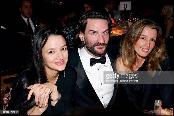 Eliette Abecassis and Frederic Beigbeder and Amandine Cornette De Saint Cyr Dinner at the restaurant Maxim's in Paris to the benefit of the...