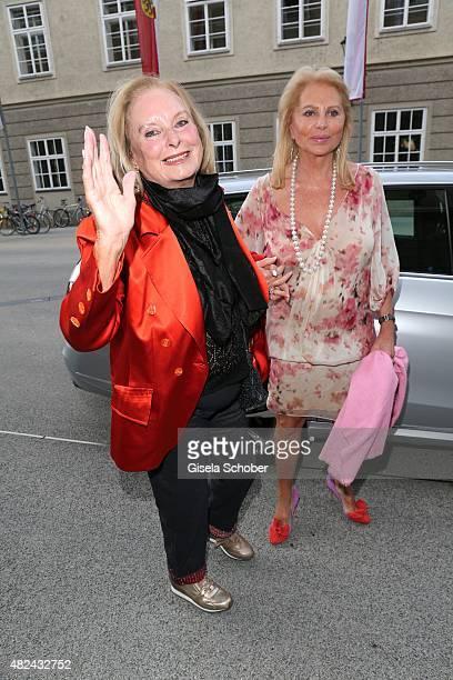 Eliette von Karajan and Eva O'Neill attend the 40 year stage anniversary of Placido Domingo during the Salzburg Festival on July 30 2015 in Salzburg...