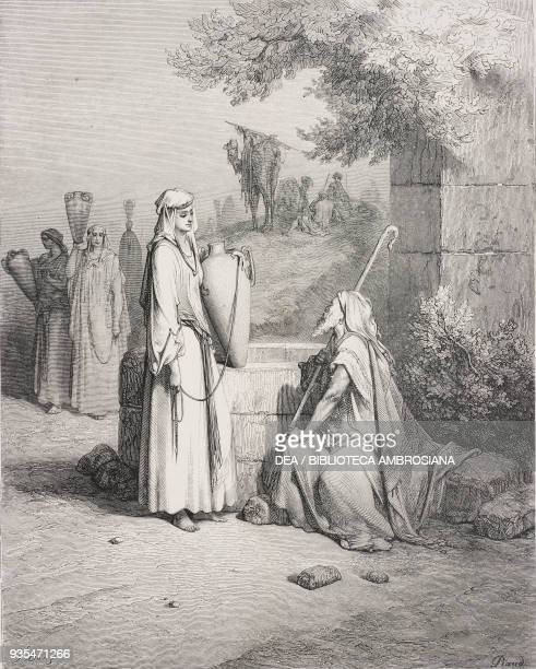 Eliezer meets Rebekah at the well engraving by Gustave Dore from The Holy Scriptures containing the Old and New Testaments Translated from The Latin...