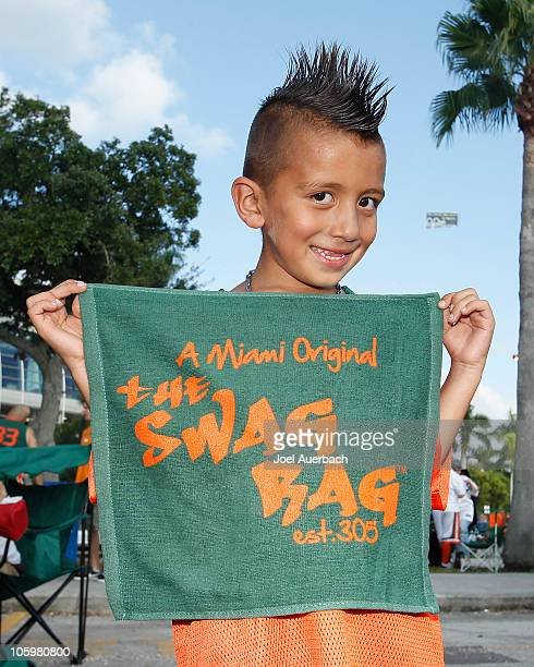 Eliezer Murillo a young Miami Hurricanes fan displays his 'swag rag' prior to the game against the North Carolina Tar Heels on October 23 2010 at Sun...