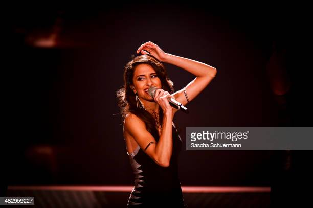 Elif Batman performs at the rehearsal for the 2nd 'Deutschland sucht den Superstar' show at Coloneum on April 5 2014 in Cologne Germany
