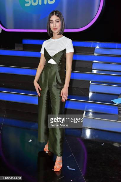 Elif Demirezer poses during a photocall after the finals of the KIKA / ZDF television competition 'Dein Song 2019' at MMC Studios on March 22 2019 in...