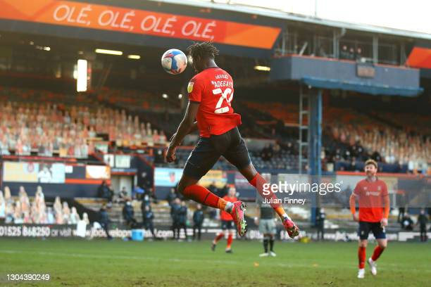 Elijah Adebayo of Luton Town scores their side's third goal during the Sky Bet Championship match between Luton Town and Sheffield Wednesday at...