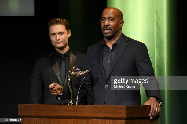 Elijah AllanBlitz and Best Use Of VR For Social Impact Award Recipient Van Jones speak onstage during the 10th Annual Lumiere Awards at Warner Bros...
