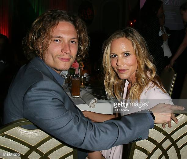 Elijah AllanBlitz and Maria Bello attend a Gala to honor Avi Lerner and Millennium Films at The Beverly Hills Hotel on April 16 2016 in Beverly Hills...
