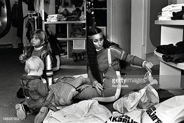 Elijah Blue Allman Chastity Bono and Cher during Cher Chastity Bono and Elijah Blue Allman Sighting in Aspen January 12 1977 in Aspen Colorado United...