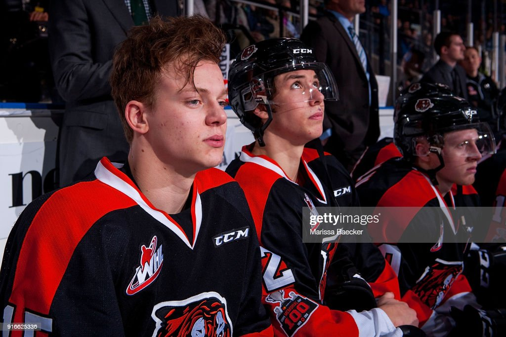 Elijah Brown #15 of the Medicine Hat Tigers sits on the bench against the Kelowna Rockets at Prospera Place on January 30, 2018 in Kelowna, Canada.