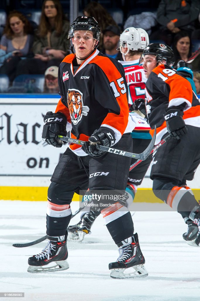 Elijah Brown #15 of the Medicine Hat Tigers skates against the Kelowna Rockets at Prospera Place on January 30, 2018 in Kelowna, Canada.