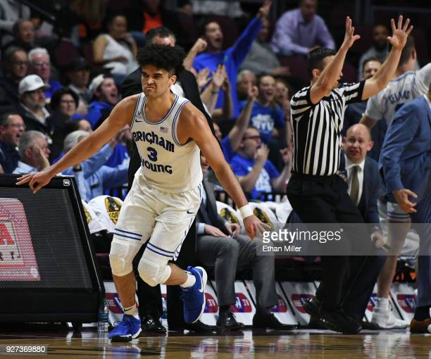 Elijah Bryant of the Brigham Young Cougars reacts after hitting a 3pointer against the San Diego Toreros during a quarterfinal game of the West Coast...