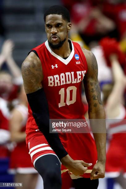 Elijah Childs of the Bradley Braves reacts after a dunk against the Michigan State Spartans during their game in the First Round of the NCAA...