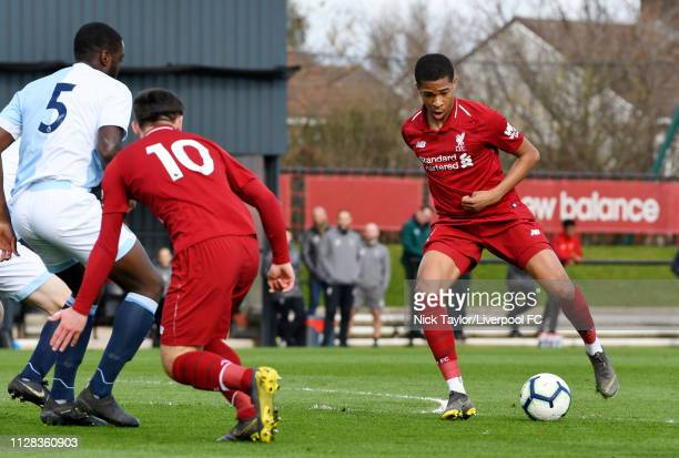 Elijah DixonBonner of Liverpool and Flavien Boyomo of Blackburn Rovers in action during the U18 Premier League game at The Kirkby Academy on March 2...