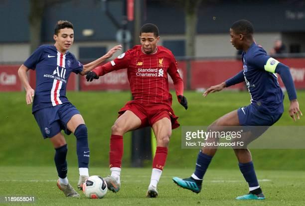 Elijah DixonBonner of Liverpool and Kays RuizAtil and Moussa Sissako of Paris Saint Germain in action during the Premier League International Cup...