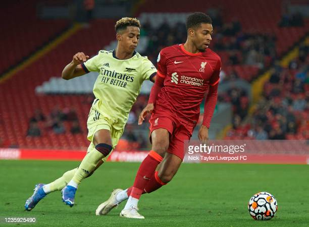 Elijah Dixon-Bonner of Liverpool and Omari Hutchinson of Arsenal in action during the PL2 game at Anfield on October 16, 2021 in Liverpool, England.