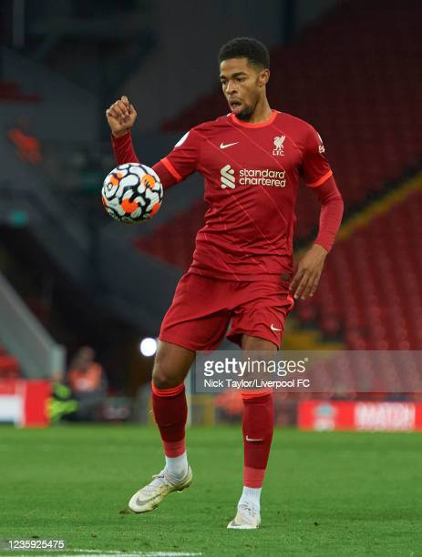 Elijah Dixon-Bonner of Liverpool in action during the PL2 game at Anfield on October 16, 2021 in Liverpool, England.