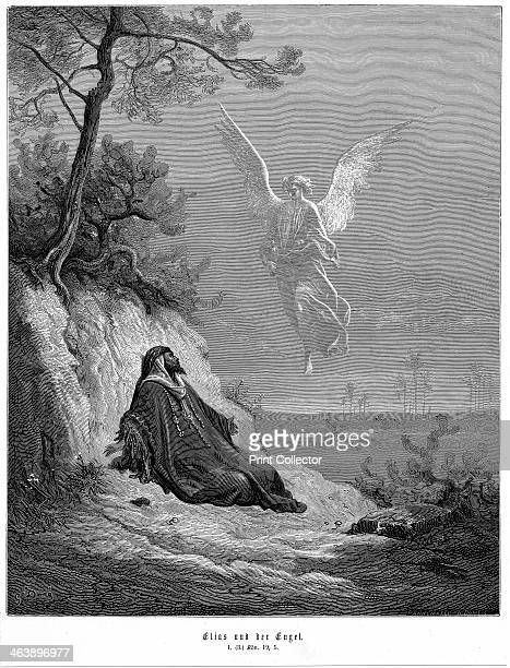 Elijah goes into wilderness and asks to die but an angel comes and bids him 'arise and eat' 1866 From the Bible