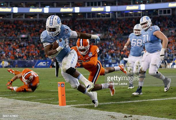 Elijah Hood of the North Carolina Tar Heels scores a touchdown against the Clemson Tigers in the 4th quarter during the Atlantic Coast Conference...