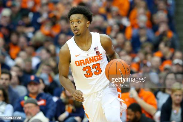 Elijah Hughes of the Syracuse Orange dribbles up the court against the Georgia Tech Yellow Jackets during the second half at the Carrier Dome on...