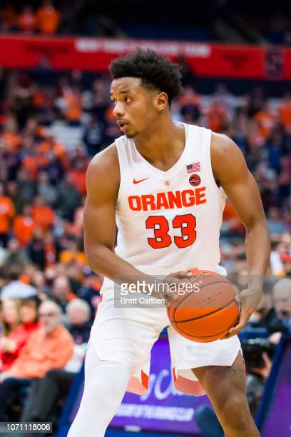 Elijah Hughes of the Syracuse Orange handles the ball during the second half against the Colgate Raiders at the Carrier Dome on November 21 2018 in...