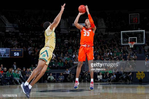 Elijah Hughes of the Syracuse Orange shoots the ball against the Notre Dame Fighting Irish in the second half of the game at Purcell Pavilion on...