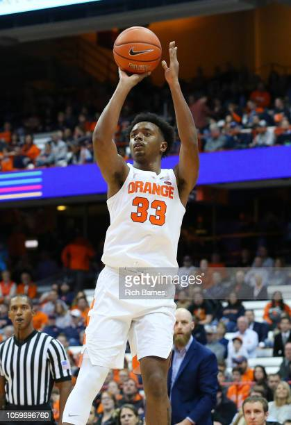 Elijah Hughes of the Syracuse Orange shoots the ball against the St Rose Golden Knights during the first half at the Carrier Dome on October 25 2018...