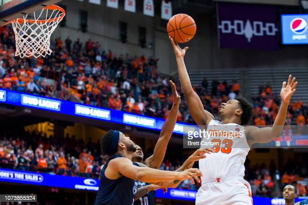 Elijah Hughes of the Syracuse Orange shoots the ball during the second half against the Old Dominion Monarchs at the Carrier Dome on December 15 2018...