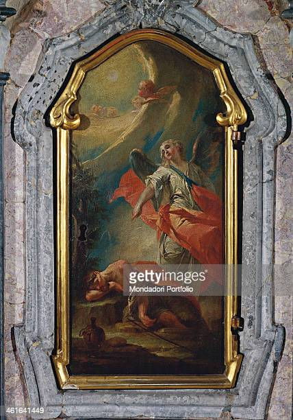Elijah in the desert by Biagio Bellotti 18th Century oil on canvas Italy Lombardy Varese Olgiate Olona Buon Gesù Church of Saint Joseph Whole artwork...